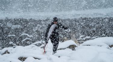 Seorang surfer atau peselancar berjalan keluar dari air di bawah hujan salju di Unstad, Norwegia Utara (11/3). Pria ini berselancar di wiliyah Lingkaran Arktik dengan suhu minus 13 derajat Celsius. (AFP Photo/Olivier Morin)