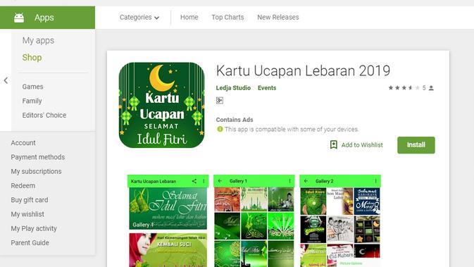 Aplikasi Kartu Ucapan Lebaran. (Doc: Google Play Store)