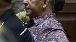 Terdakwa kasus suap proyek PLTU Riau-1 Sofyan Basir menjalani sidang lanjutan di Pengadilan Tipikor, Jakarta, Senin (21/10/2019). Sidang tersebut beragendakan pembacaan nota pembelaan atau pledoi terdakwa. (Liputan6.com/Herman Zakharia)