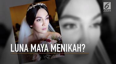 Luna Maya membuat jagat hiburan heboh lantaran foto-fotonya memakai gaun pengantin tersebar di dunia maya.
