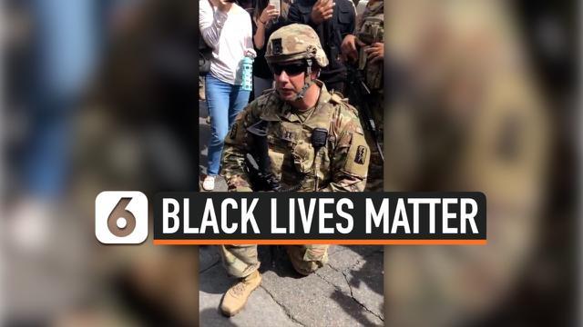 thumbnail garda nasional berlutut BLM