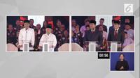 Pasangan Jokowi-Ma'ruf Amin dan Prabowo-Subianto saat debat capres cawapres 2019. (Liputan6.com)