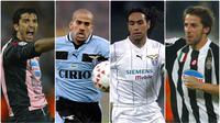 Kompetisi Liga Italia Serie A menampilkan masa kejayaan pada era 1990-an. Kompetisi level tertinggi di sepak bola tersebut menjadi yang paling ternama di seluruh penjuru dunia. Berikut bintang sepak bola yang berkibar di Liga Italia Serie A pada era 1990-an. (kolase foto AFP)