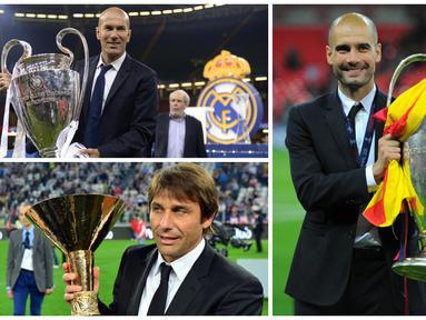Foto kolase Josep Guardiola, Zinedine Zidane, dan Antonio Conte merupakan pemain bertahan yang hebat pada masanya dan sekarang mereka sukses dengan menjadi pelatih di tim mereka masing-masing. (Foto: AFP)