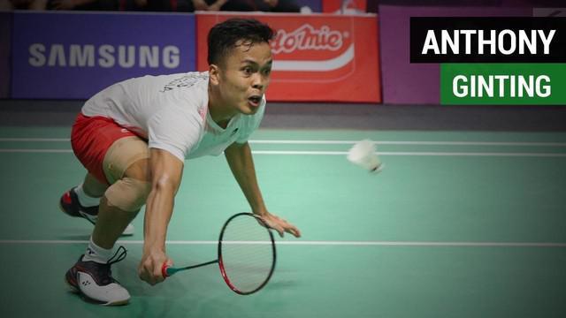 Anthony Sinisuka Ginting duel dramatis pada final bulutangkis beregur putra melawan China, Shi Yuqi Rabu (22/8/2018) di Istora, Senayan.