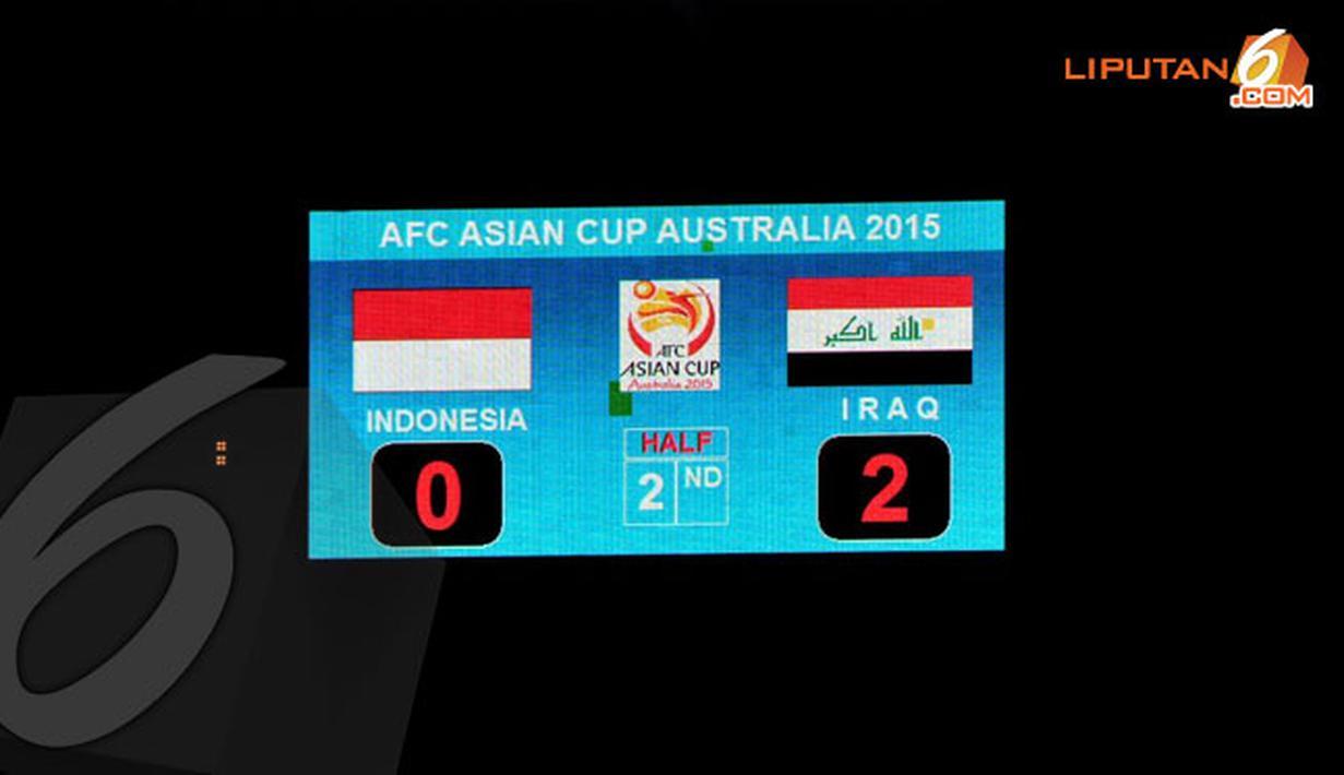Meski telah berjuang habis-habisan, Timnas Indonesia harus mengakui keunggulan Irak dengan Skor 2-0 (Liputan6.com/Helmi Fithriansyah)