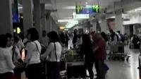 Sebagian penumpang terpaksa bermalam di Bandara Halim Perdanakusuma.
