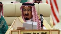 Raja Salman pidato dalam acara  Saudi-Iraqi Bilateral Coordination Council  22 Oktober 2017 lalu di Riyadh. (Alex Brandon / POOL / AFP)