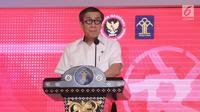 Menkumham Yasonna Laoly memberikan sambutan saat melakukan MoU dengan BNPT di gedung Kemenkumham, Jakarta, Kamis (31/5). (Liputan6.com/Herman Zakharia)