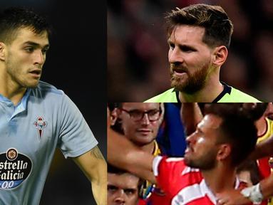 Mencetak dua gol saat Girona mengalahkan tuan rumah Espanyol membuat Cristhian Stuani memuncaki daftar top scorer la liga hingga pekan ke-13. (Kolase foto AFP)