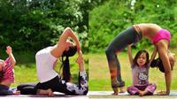 Laura Kasperzak Sykora membuktikan bahwa yoga pun bisa dinikmati bersama buah hati.