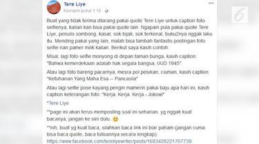 Penulis beken Tere Liye melontarkan kemarahan lewat akun facebooknya karena merasa risih Quote-nya sering dicomot