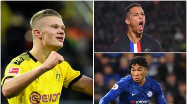 Pemain Borussia Dortmund, Erling Haaland, menjadi sorotan berkat dua golnya ke gawang PSG pada babak 16 besar Liga Champions. Di ajang Liga Champions ini ada beberapa pemain muda yang layak mendapat perhatian. Berikut ini 5 pemain muda yang layak untuk diperhatikan. (kolase foto AFP)