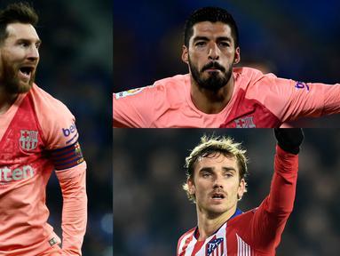 Lionel Messi semakin nyaman berada di puncak daftar top scorer La Liga. Saat ini Lionel Messi berhasil mencetak 16 gol dan 10 assist. (Kolase Foto AFP)