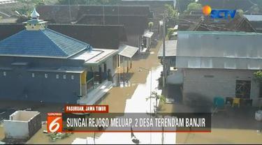 Menurut warga, luapan Sungai Rejoso terjadi karena proses normalisasi sungai pasca pekerjaan jalan tol kurang baik.