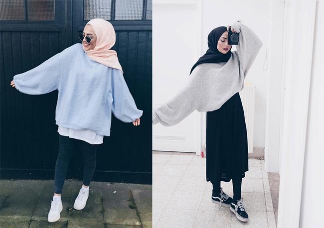 Hijab style dengan baju oversize yang bakal buatmu cantik dan menawan/copyright pinterest.com