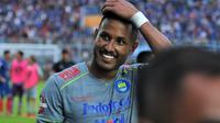 Wander Luiz striker Persib setelah pertandingan melawan Arema di Stadion Kanjuruhan, Malang (8/3/2020). (Bola.com/Iwan Setiawan)