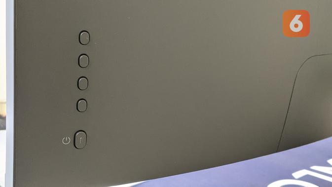 Tombol on/off dan fungsi di Xiaomi Mi Curved Gaming Monitor. (Liputan6.com/ Yuslianson)