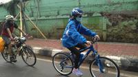 Haruka Nakagawa JKT48 saat hendak bersepeda dari Jakarta ke Surabaya. (Twitter - @HarukaN_JKT48)