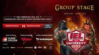 Live streaming IEL University Super Series 2021 kualifikasi Grup H, Rabu (3/2/2021) dapat disaksikan melalui platform Vidio, laman Bola.com, dan Bola.net. (Dok. Vidio)