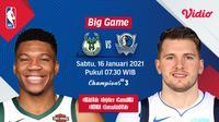Live streaming NBA, Bucks vs Mavericks, Sabtu (16/1/2021) pukul 07.30 WIB dapat disaksikan melalui platform streaming Vidio. (Dok. Vidio)