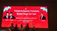 Menteri Sosial Juliari Peter Batubara saat membuka acara 'Peningkatan Kapasitas Pendamping Bantuan Pangan Non Tunai' di Hotel Vasa, Surabaya.