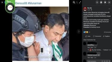 Gambar Tangkapan Layar Foto yang Diklaim Munarman Menggigit Sandal Saat Ditangkap Densus 88 Polri (sumber: Facebook)