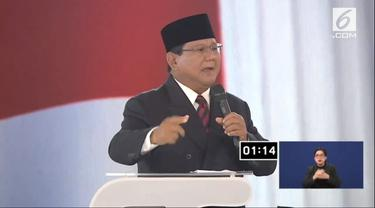 Calon Presiden nomor urut 02 Prabowo Subianto dalam debat keempat Pilpres 2019. (Liputan6.com)