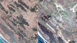 Citra satelit DigitalGlobe pada 20 Desember 2017 (kiri) dan 13 Februari 2018 (kanan) di Desa Zona Kar Yar, sekitar 24 kilometer tenggara Maungdaw, Rakhine, Myanmar.  Perataan desa Rohingya dilakukan dalam beberapa pekan terakhir. (DigitalGlobe via AP)