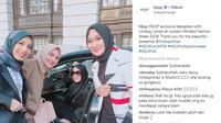 Berikut momen Lindsay Lohan bertemu dengan desainer busana muslim asal Indonesia Ria Miranda, Jenahara, dan Dian Pelangi. (Foto: instagram/HijUp)