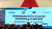 Presiden RI Joko Widodo (Jokowi) meresmikan Pembangkit Listrik Tenaga Uap (PLTU) Cilacap Ekspansi Tahap I.