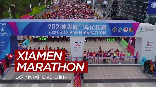Berita video highlights lomba lari Xiamen Marathon di China yang diikuti 12.000 peserta.