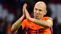 Arjen Robben memutuskan pensiun dari tim nasional Belanda pada Selasa (10/10/2017). (AFP/Emmanuel Dunand)