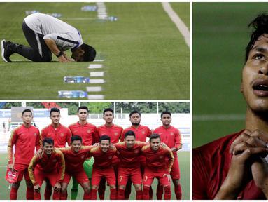 Bhineka Tunggal Ika yang menjadi somboyan bangsa Indonesia rupanya tergambar secara sederhana dalam Timnas Indonesia U-22. Mereka bersatu untuk berjuang demi nama Indonesia meski dengan latar belakang yang beragam. (Bola.com/M Iqbal Ichsan)