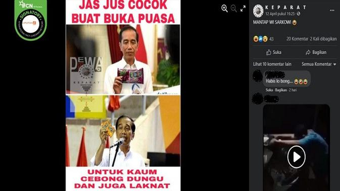 Gambar Tangkapan Layar Foto yang Diklaim Presiden Jokowi Tengah Memamerkan Minuman Jasjus (sumber: Facebook)