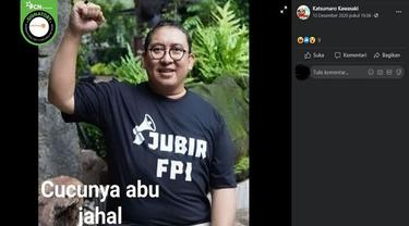 Gambar Tangkapan Layar Foto Fadli Zon Kenakan Kaus JUBIR FPI (sumber: Facebook)