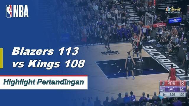 Jusef Nurkic membukukan 24 poin dengan 23 rebound saat Blazers menang 113-108 melawan Kings.