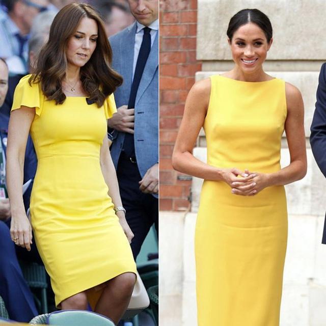 Penampilan Kate dan Meghan yang mirip. Keduanya sama-sama terlihat anggun, cantik dan menawan/copyright via dailymail.co.uk - AFP
