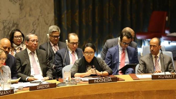 Menteri Luar Negeri RI Retno Marsudi dalam pertemuan High Level Briefing on Supporting the Non-Proliferation Treaty ahead of the 2020 Review Conference (kredit: Kementerian Luar Negeri RI)