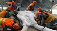 Temuan fosil mamut raksasa oleh sekelompik tim arkeolog di lokasi proyek bandara baru Meksiko. (Source: Facebook Vagando con Mafedien)