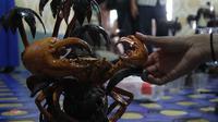 Suwarno, warga Kecamatan Anggana, Kabupaten Kutai Kartanegara mengubah limbah kepiting menjadi kerajinan yang cantik.