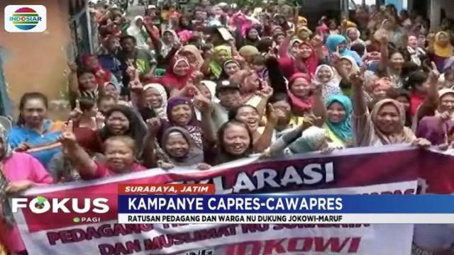 Ratusan pedagang dan Muslimat NU di Surabaya deklarasikan dukungan untuk Joko Widodo-Ma'ruf Amin.
