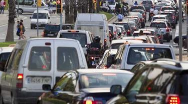 Kemacetan yang terjadi di Kota Barcelona, Spanyol