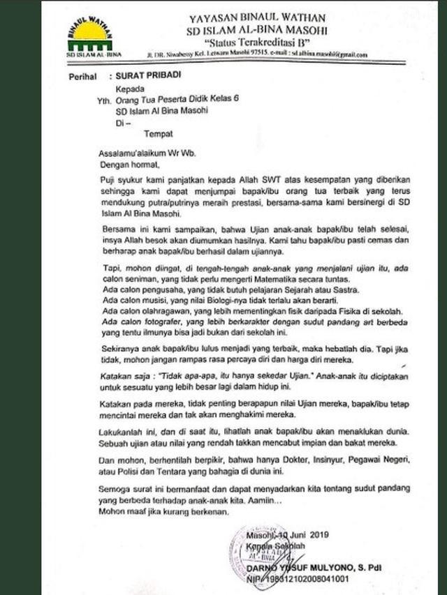 Viral Isi Surat Edaran Sekolah Tak Biasa Bikin Warganet