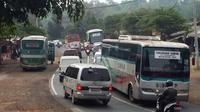 Lalu lintas mudik lebaran di jalur selatan macet. (Liputan6.com/Jayadi Supriadin)