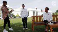 Konten kreator  XYZ 2018, JFlow berbincang dengan Presiden Joko Widodo Istana Bogor, Minggu (22/4). Kegiatan ini menjadi rangkaian menyambut XYZ 2018 yang akan diadakan di Venue The Hall-Senayan City, 25 April 2018, mendatang. (Liputan6.com/Angga Yuniar)