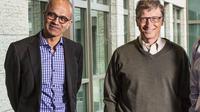 CEO Microsoft Satya Nadella dan Mantan CEO Microsoft Bill Gates yang menolak akuisisi Slack (foto: Business Insider).