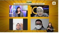 Dari kiri ke kanan, host Nadya Laras, Prof. Dr.dr. Siti Setiati SpPD, KGer, MEpid, penanya dari pegiat cek fakta, dan dr. Dirga Sakti Rambe, M.Sc, Sp.PD, dalam acara Virtual Class Liputan6.com, Selasa (30/3). (Istimewa)