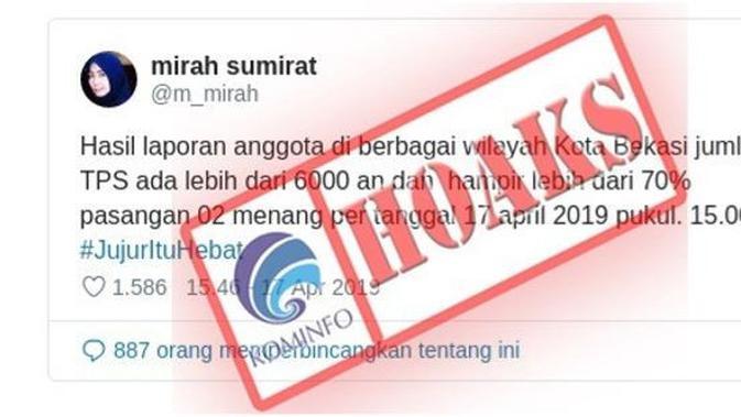 Hoaks di Bekasi Ada 6.000 TPS dan Prabowo Menang. Dok: Kemkominfo