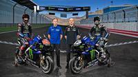 Peluncuran tim Monster Energy Yamaha untuk MotoGP 2021 secara virtual, Senin (15/2/2021). Yamaha mengandalkan Fabio Quartararo dan Maverick Vinales. (Yamaha MotoGP)